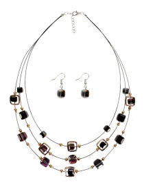 Fashion Semi-plated Ash Crystal Necklace Set