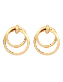 Fashion Gold Irregular Double Round Buckle Stud Earrings