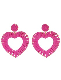 Fashion Rose Red Alloy Weaving Love Lafite Stud Earrings