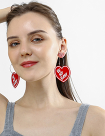 Fashion Red Heart Be My Baby Earrings