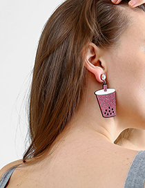 Fashion Pink Boba Pearl Milk Tea Earrings