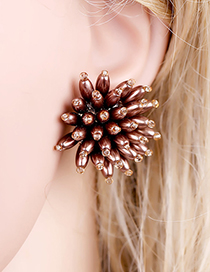 Fashion Brown Beaded Three-dimensional Flower Pearl Stud Earrings
