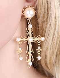 Fashion Gold Cross Pearl Earrings