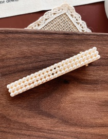 Fashion Three Rows Of Pearl Long Clips Golden Pearl Flower Hair Clip
