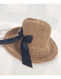 Fashion Crimped Bow Khaki Woven Straw Hat