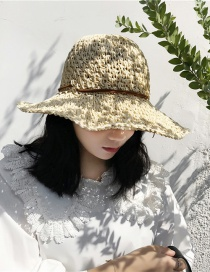 Fashion Beige Straw Crocheted Visor