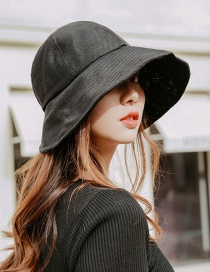 Fashion Black Cotton And Linen Folding Sun Hat