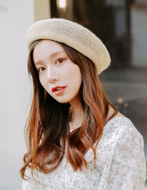 Fashion Beige Openwork Straw Beret