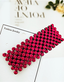 Fashion Square Full Diamond Red Studded With Hair Clips