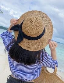 Fashion Khaki Paper Weaving Bow Sun Protection Cap