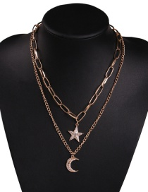 Fashion Gold Alloy Double-layer Chain Crescent Five-pointed Star Necklace
