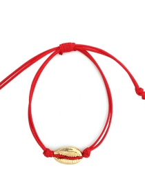 Fashion Red Alloy Wax Rope Shell Bracelet