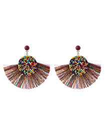 Fashion Multi-color Tassel Decorated Round Earrings