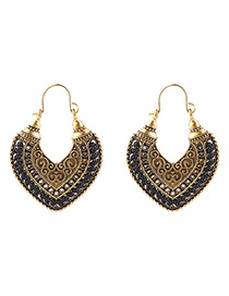 Fashion Black+gold Color Heart Shape Decorated Earrings