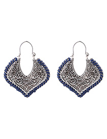 Fashion Navy Heart Shape Decorated Earrings