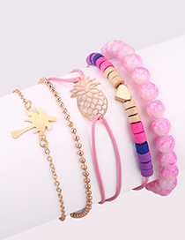 Fashion Pink Pineapple Shape Decorated Multi-layer Bracelet