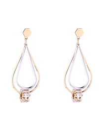 Simple Gold Color Water Drop Shape Decorated Earrings
