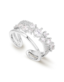 Fashion Platinum Plated Gold Crossover Full Drill Ring