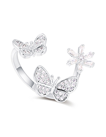Fashion Platinum Plated Gold Butterfly Open Ring