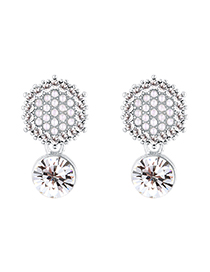 Fashion Platinum + White Hexagon Full Diamond Pearl Plated Gold S925 Silver Needle Stud Earrings