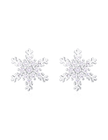 Fashion Platinum Plated Gold S925 Silver Needle Snowflake Earrings