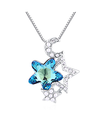 Fashion Blue Light Star Moon Guard Crystal Necklace
