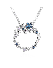 Fashion Color White + Ink Blue Plated Gold-blue Sea Legend Ring Full Of Diamond Necklace