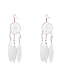 Fashion White Garland Circle Feather Earrings