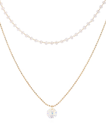 Fashion 14k Gold Crystal Necklace - Small Lantern