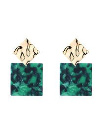 Fashion Green Plated Gold Square Geometric Earrings