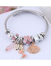 Fashion Pink Metal Shell Mermaid Bracelet