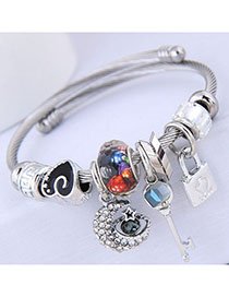Exaggerate Silver Color Metal Strip Shape Decorated Opening Design Alloy Fashion Bangles