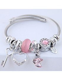 Fashion Pink Metal Key Love Swan Pendant Multi-element Bracelet