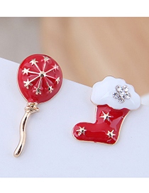 Fashion Red Christmas Hot Air Balloon Christmas Boots Asymmetric Stud Earrings
