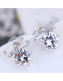 Fashion Silver 925 Silver Needle Butterfly Zircon Earrings