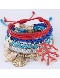 Fashion Color Shell Color Starfish Bracelet 5 Piece Set