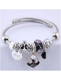 Fashion Black Metal Anchor Bracelet