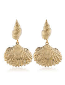 Fashion Gold Metal Conch Shell Earrings