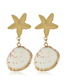 Fashion Gold Metal Starfish Shell Earrings