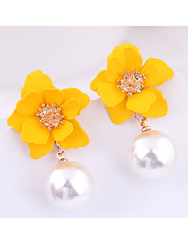 Fashion Yellow 925 Silver Needle Flower Pearl Stud Earrings