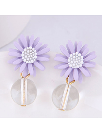 Fashion Purple Chrysanthemum Earring