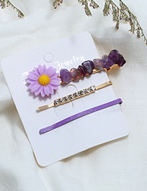 Fashion Purple Small Flower-studded Hair Clip Set