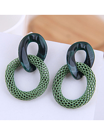 Fashion Green Irregular Resin Ring Metal Earrings
