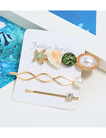 Fashion Green Sea Star Shell Pearl Hair Clip Three-piece