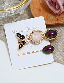 Fashion Black Butterfly F Hairpin Two-piece Set