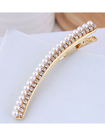 Fashion Gold Metal Flash Diamond Pearl Hair Clip