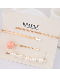 Fashion Orange Pearl Alloy Hair Clip Four-piece