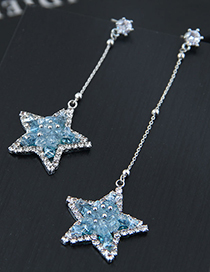 Fashion Clear Blue 925 Silver Five-pointed Star Asymmetric Earrings