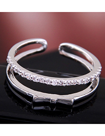Fashion Silver Copper-inlaid Zircon Bow Double-layer Open Ring