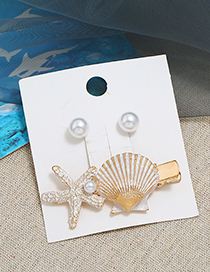 White Metal Pearl Stud Earrings Starfish Hairpin Set